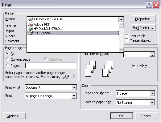 Printer selection dialog