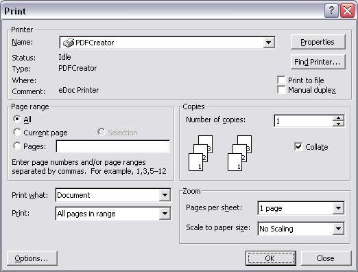 Printer options dialog
