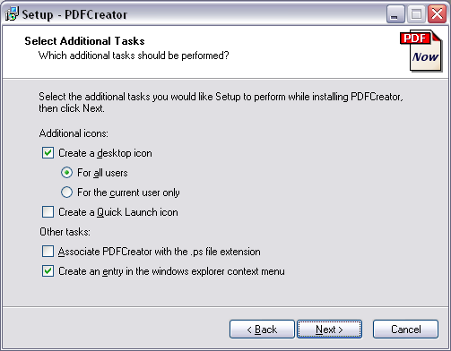 Additional tasks dialog