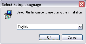 Select setup language dialog
